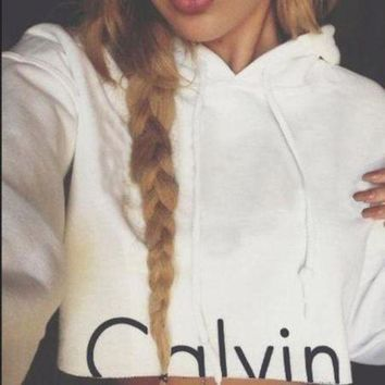 ONETOW Calvin Klein Fashion Solid Drawstring Top Sweater Pullover Hoodie