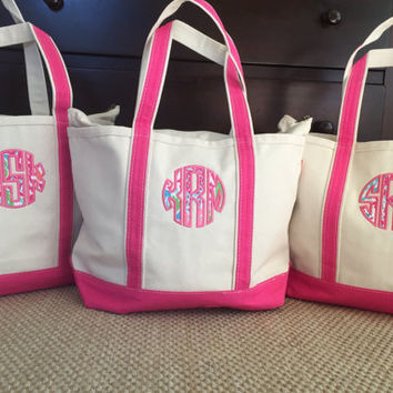 Great for Bridesmaid gift Lilly pulitzer zipper top canvas tote bag / great gift for her / Girls Personalized tote bag