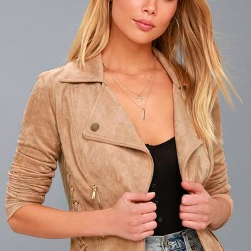 Orson Tan Vegan Suede Lace-Up Moto Jacket