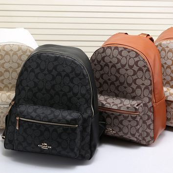 "shosouvenir""COACH"" Casual Sport Laptop Bag Shoulder School Bag Backpack Apricot-Coffee G-LLBPFSH"