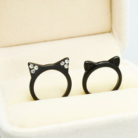 accessories jewelry cute black kitty Cat ears finger ring for  girl nice gift R1498