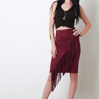 Diagonal Fringe Vegan Suede Skirt