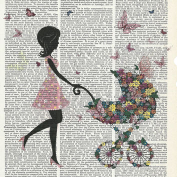 Beautiful new mother with baby stroller on Dictionary Art Print onUpcycle Vintage Page Book Print Art Print Collage Print