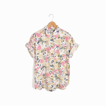 Vintage 90s Floral Boy Shirt in White Yellow & Rose - women's large