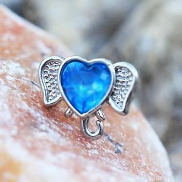 316L Stainless Steel Aqua Heart Elephant Cartilage Earring
