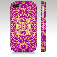 Trendy iPhone case, iPhone 4s case, iPhone 4 case, tribal aztec ethnic pattern design, pink gold, art for your phone