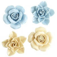 Porcelain Flower Magnet Set