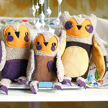 Owls family, set of 3 stuffed  toys, Art soft toys by Wassupbrothers
