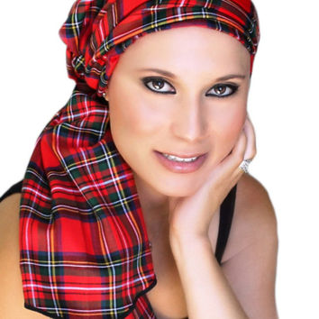 Red Plaid Turban, Head Wrap Alopecia Scarf, Chemo Hat, Hat & Scarf Set