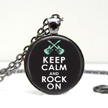Keep Calm Rock On Necklace : Electric Guitar. Music. Pendant. Picture Pendant (1458)