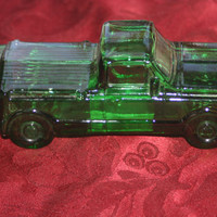 Vintage Green Glass Truck, Vintage Avon Decanter Bottle, Man Cave Decor