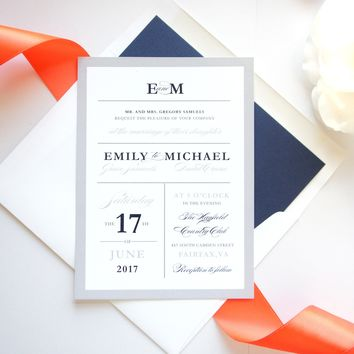 Coral and Navy Wedding Invitation - DEPOSIT