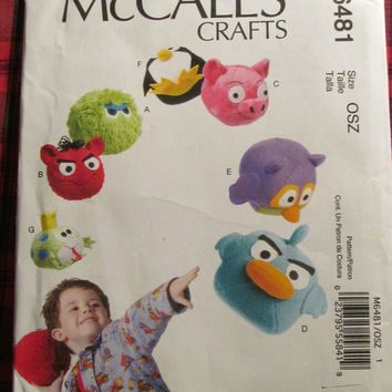 SALE Uncut McCall's Sewing Pattern, 6481! Angry Bird Stuffed Toys, Pigs/Birds Children/Kids Plush Toys/Light Weight Play