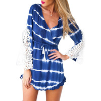 Women summer style dress sexy Deep V-Neck Lace Long Sleeve Drawsting Waist Mini Beach Dress drop shipping 63