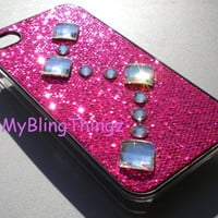 Hot Pink Glitter Sparkle Case with Square Chessboard Crystal Diamond Bling Rhinestones for iPhone 4 4G 4S made with Swarovski Elements