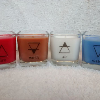 Four Elements Candles | Wiccan | Pagan | Earth | Air | Fire | Water | Custom Candles | Unique Gifts