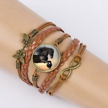 Caxybb Horse Bangles Vintage Glass Cabochon Bracelet Leather cord bracelet Holiday gifts