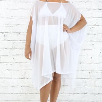 Sheer Plus Size Tunic Poncho Top