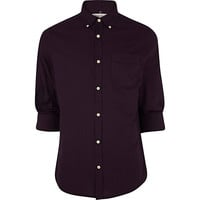 River Island MensDark purple roll sleeve Oxford shirt