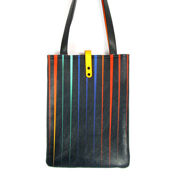 Leather Tote / Shopper / Laptop Bag - Black Pleats