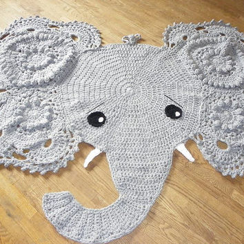 Crochet Elephant Rug Nursery Decor Home Play Mat