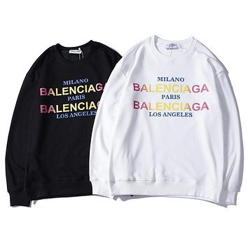 Balenciaga Fashion Tide Personality Letter Contrast Loose Casual Turtleneck Sweater F-A-KSFZ