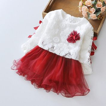 2016 New Girls Dress Flower Lace TuTu Dance Party Pagant Spring and Autumn Baby Kids Clothing Size 6M-24M