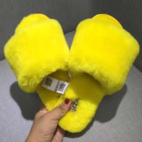UGG Sheep fur one word drag the new autumn/winter slippers Yellow