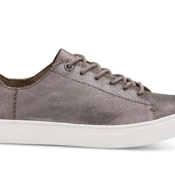 Pewter Metallic Leather Women's Lenox Sneakers