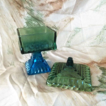 Blue and Green Jeannette Glass, Pedestal Candy Dish, Jeannette Pedestal Wedding Box, Blue Green Compote