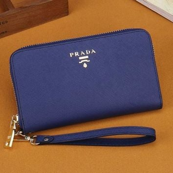 THE PRADA Zipper bag Women Leather Purse Wallet H-MYJSY-BB-1
