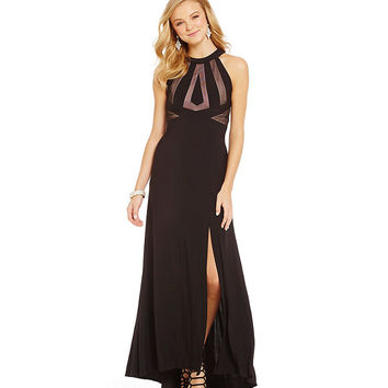Morgan & Co. High-Neckline Illusion Cut-Out Gown | Dillards