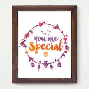 You Are Special, Feather Digital Print, Wall Decor, Typography, Vintage Poster Art, Ornament, Indians, Modern, Motivation, Inspiration
