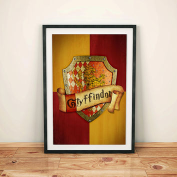Harry Potter Poster, Harry Potter gift, Gryffindor, Hogwarts, birthday gift, hogwarts houses, geekery art
