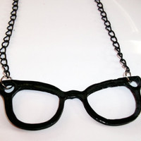 Nerd Glasses Necklace Black by KitschBitchJewellery on Etsy