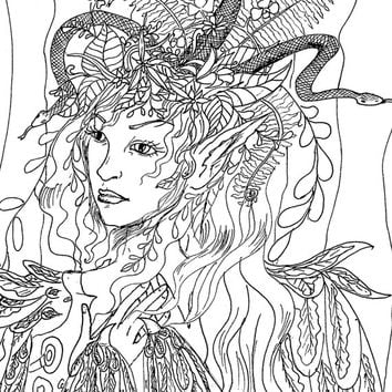 Digital Illustration,line drawing,Adult Colouring,Line Art,page to print, Colouring Page,Flower Printable,fairy colouring, girl colouring