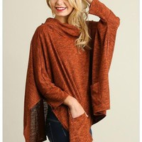 All Eyes On Me Red Cowl Neck Pullover Poncho