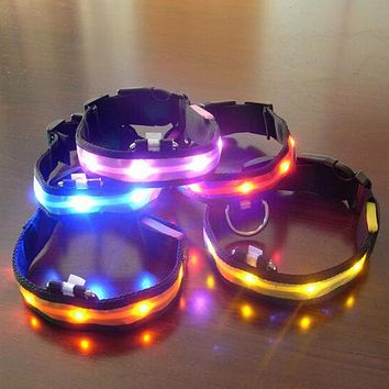 Nylon Flashing LED Pet Dog Collar | Night Safety Anti-lost | 7 colors S M L XL Size