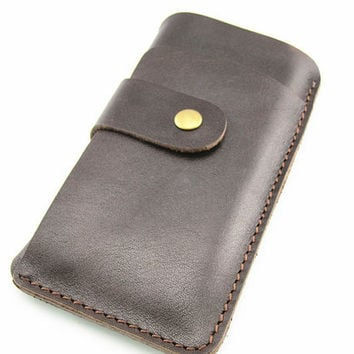 Handmade leather pouch cover case for iPhone 4 ipod touch ,iphone 4s sleeve iPhone 4s leather sleeve ,iPhone 4 wallet with card holder brown