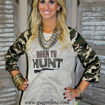 Born To Hunt Camo and Taupe Burnout Baseball Tee