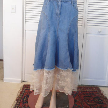 Size 10 Womens Flair Lace Hemmed Blue Jean Skirt Refashioned upcycled redesigned hippie boho gypsy cowgirl glam style clothes clothing