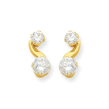Kids Synthetic White Topaz and CZ 14k Yellow Gold Drop Earrings