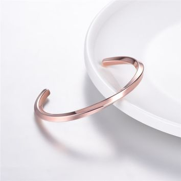 cuff bracelets for women vintage jewelry rose gold color stainless steel ladies gift twist bangle