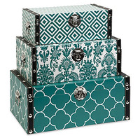 One Kings Lane - Gifts for Her - Asst. of 3 Storage Boxes, Teal