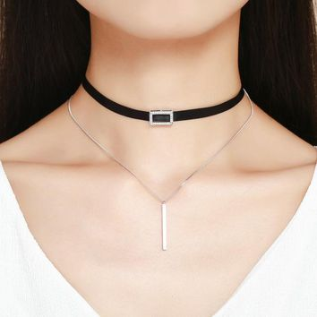 Trendy Double Layer 925 Sterling Silver & Black Braid Bar Square Chokers Pendant Necklaces Femme Collar Jewelry SCN080