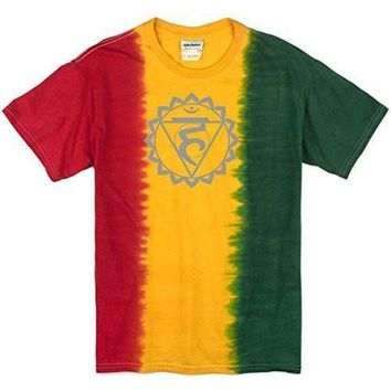 Yoga Clothing for You Mens Vishuddha Chakra Rasta Tie Dye T-Shirt
