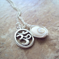 Om Necklace Eye of Shiva Natural Shell Cats Eye Yoga Accessories Buddhist Hindu Protection Jewelry Handmade on Etsy