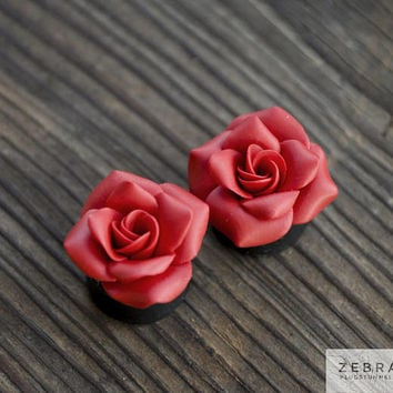 "Red Weddings plugs Rosebud flowers tunnels bridal ,8,10,12,14,16,18,20,22,24,26,28,30mm;0g,00g;5/16"",3/8"",1/2"",9/16"",5/8"",3/4"",7/8"",1 1/4"""