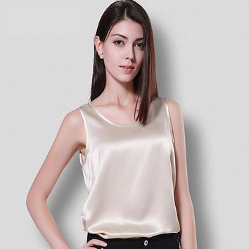 100% Silk  Vest Female Summer Heavy Big Code Loose Sleeveless Collar Shirt In The Long Bottom Sling 16 mome crepe satin.