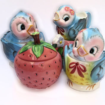 Sweet Strawberry Vintage 50s PY Japan Cream & Sugar Set - Figural Fruit Cute Mid Century Lefton Berry Whimsical Charming Funky Kitchen Decor